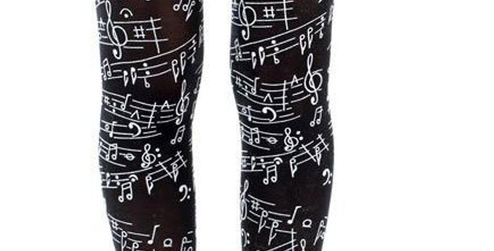 Black Opaque Tights Musical Notes for women