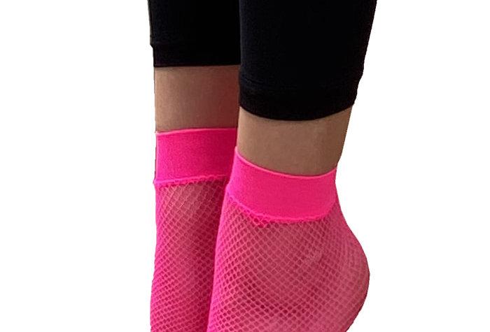 Pink Fishnet Ankle Socks for Women