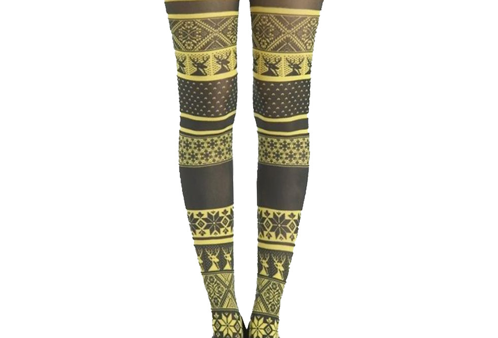 Yellow Winter Patterned Tights