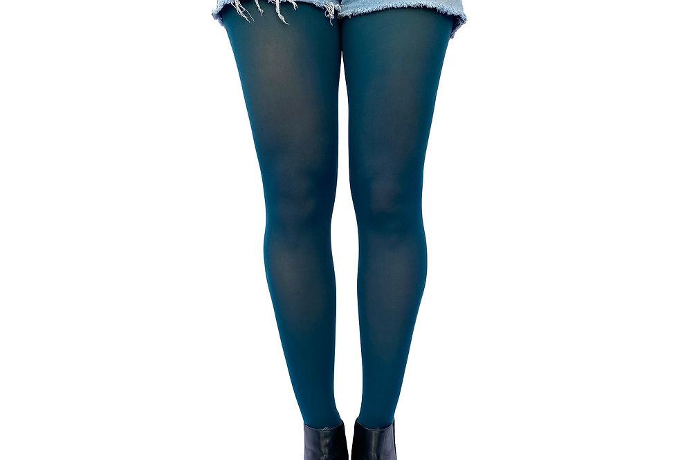 Dark Teal Opaque Tights for Women