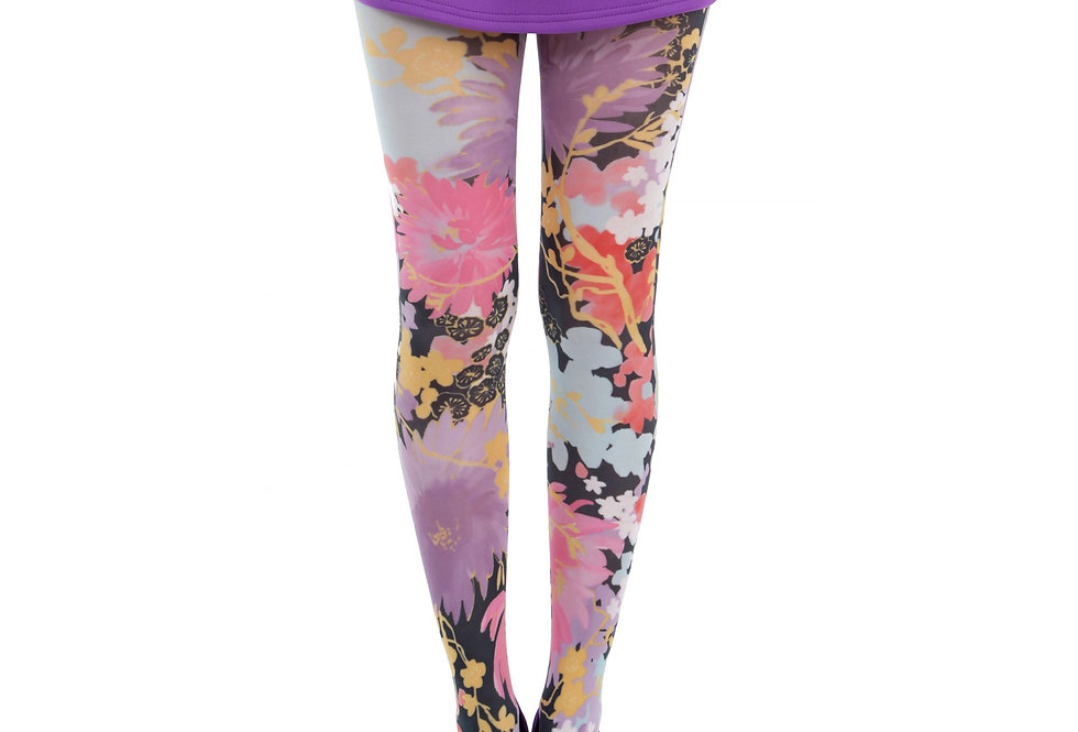Colorful Floral Tights Freesia for Women