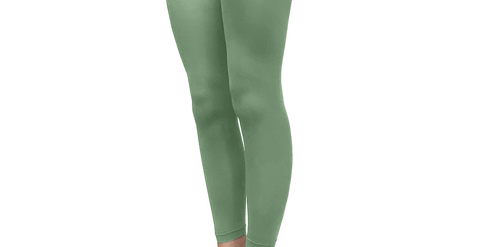 Leaf Green Footless Tights for Women, Ankle Length Opaque 50 deniers