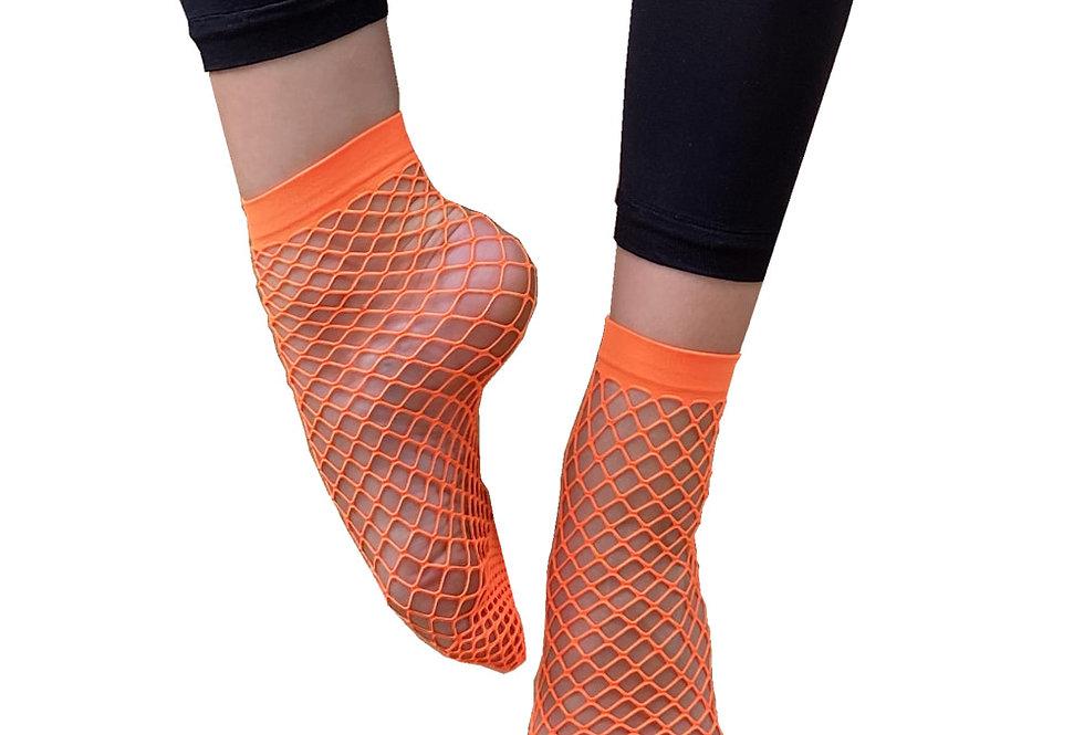 Orange Large Fishnet Ankle Socks for Women