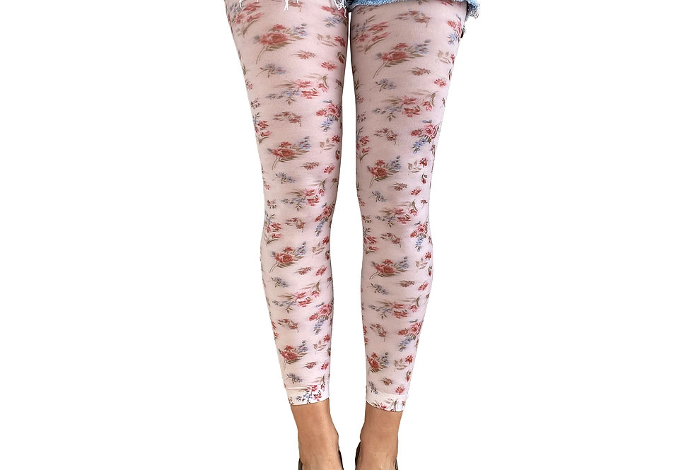 Floral Footless Tights Autumn For Women Malka Chic