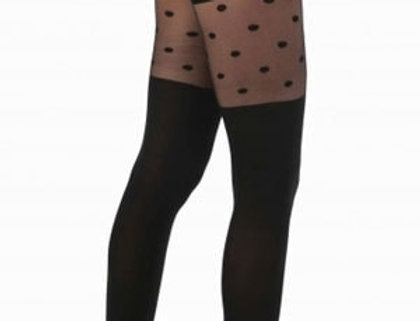 Black Sheer Opaque Dotted Tights Control Top Pantyhose