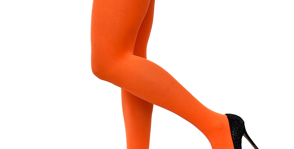 Neon Orange Opaque Tights for Women