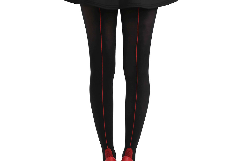 Black Back Seam Opaque Tights Red