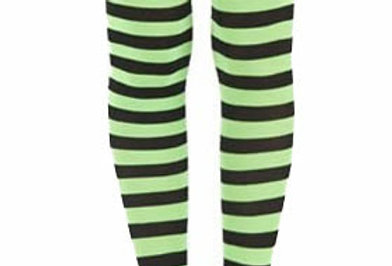 Green Striped footless Tights for women