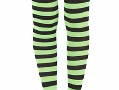 Lime Green Striped footless Tights for women, opaque ankle length