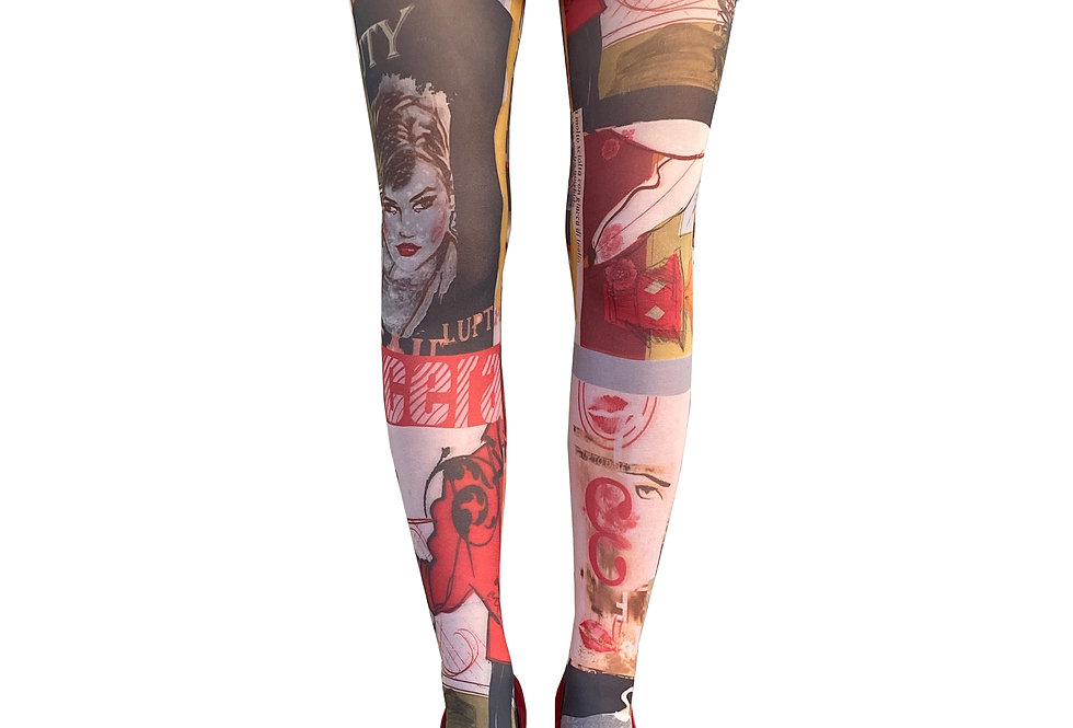 Multi-color Patterned Tights Paris for Women