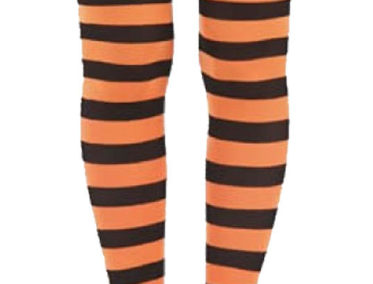 Orange Striped Opaque Tights for Women