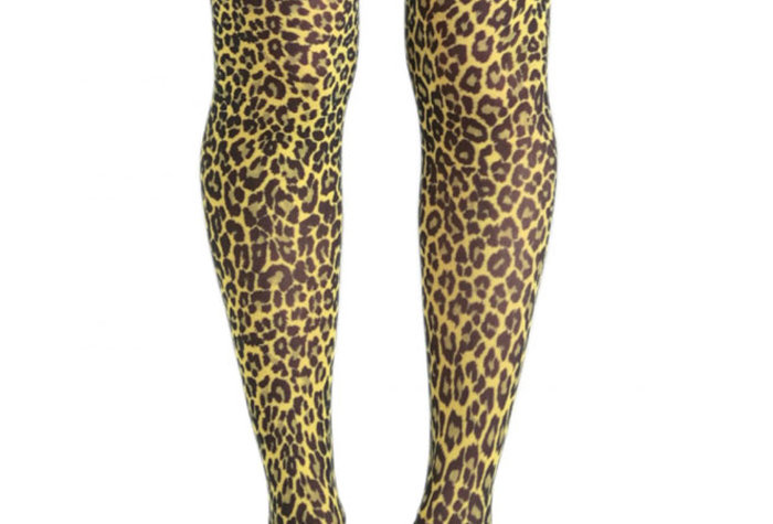 Yellow Leopard Tights for Women