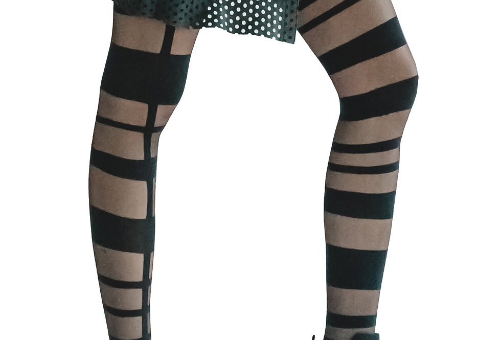 Black Graphic sheer and opaque black tights Grid for Women