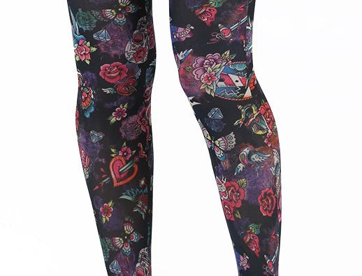 Black and Multi-color patterned footless tights inspired by Tattoo