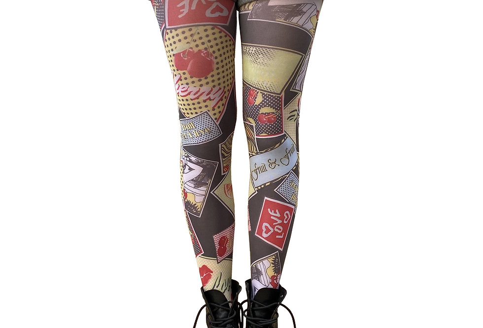 Colorful Patterned Tights Comics Summer for Women