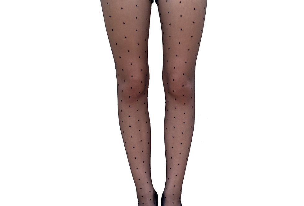 Black Sheer Dotted Tights for Women