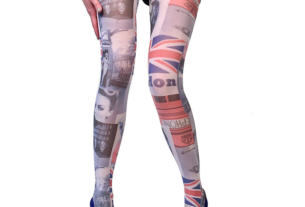 Multi-color Patterned Tights London for Women Malka Chic