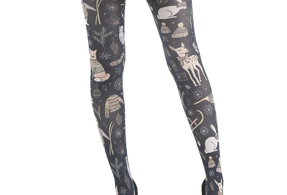 Christmas Woodland Patterned Tights for Women