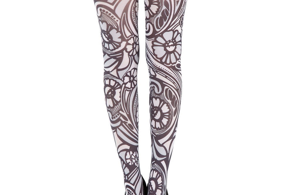 White Floral Tights Varrick for women