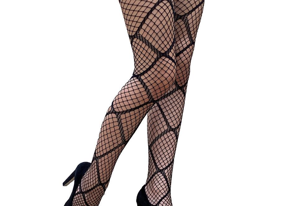 Black Large Diamond Fishnet Tights