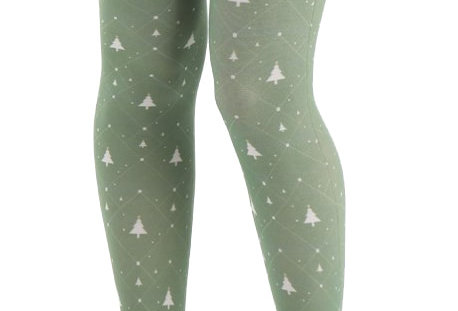 Christmas Tree green Patterned Footless Tights