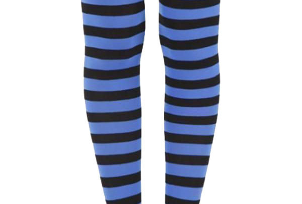 Blue Striped footless Tights for women