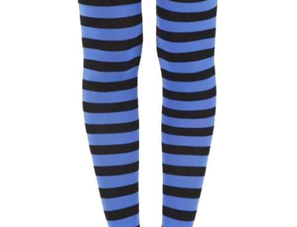 Blue Striped footless Tights for women, opaque ankle length