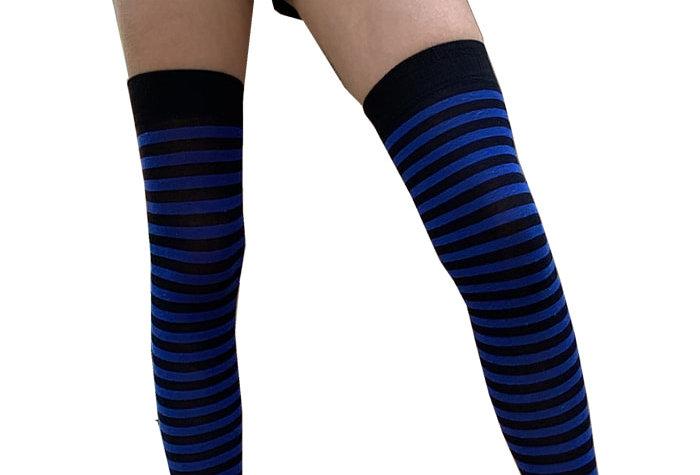Black and Blue High Socks for Women