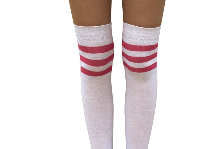 White and Pink High Socks for Women