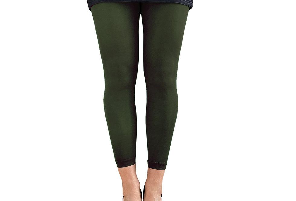 Dark Green Footless Tights For Women Malka Chic