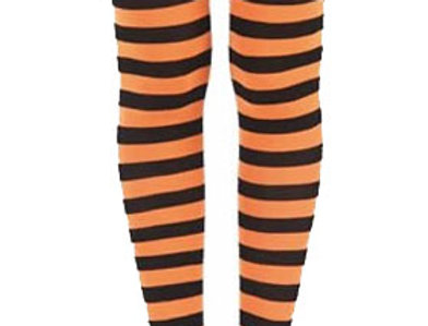 Orange Striped footless Tights for women, opaque ankle length