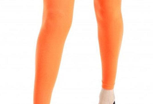 Neon Orange Footless Tights Opaque 40 D