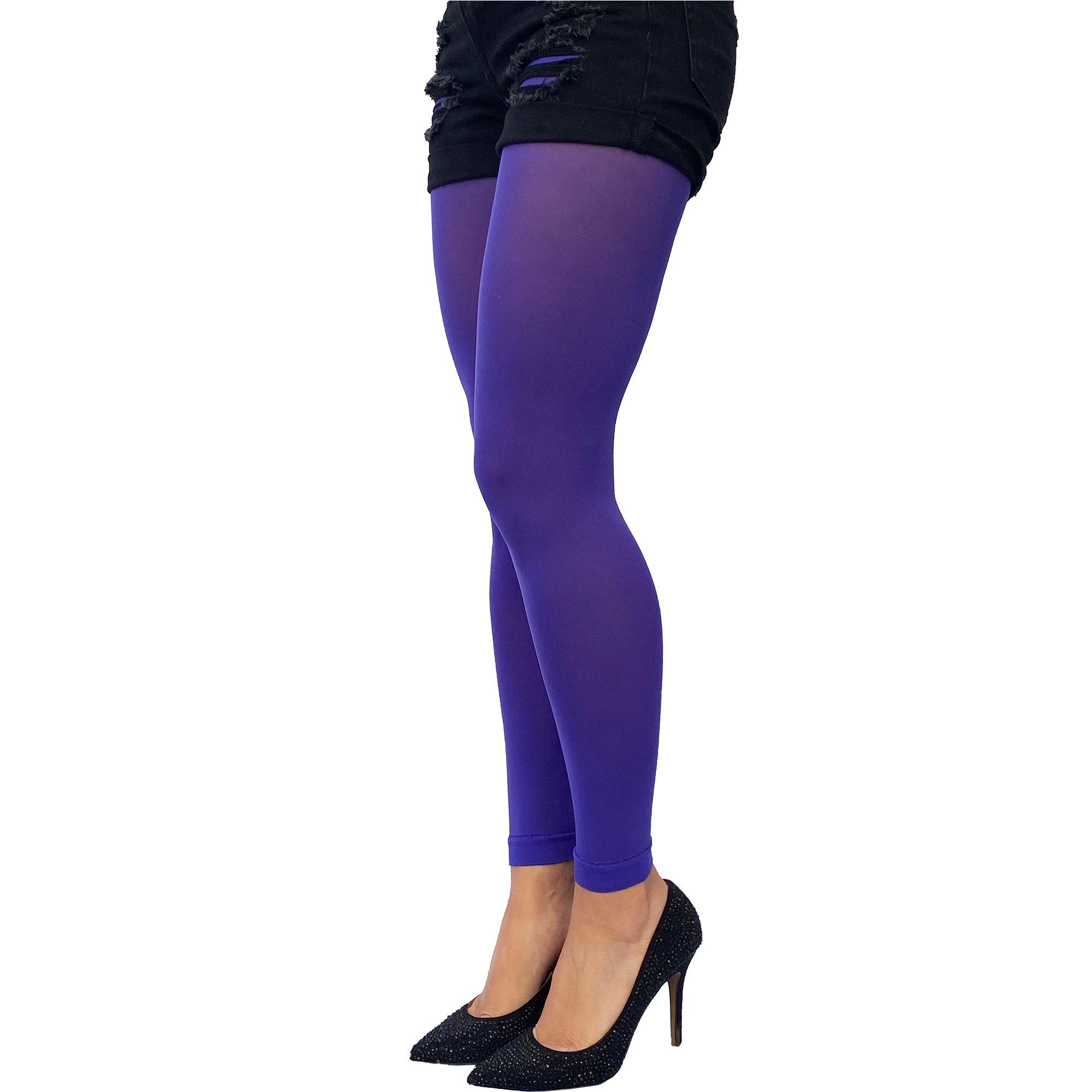 Footless Tights electric blue 50 deniers Malka Chic in smallmedium