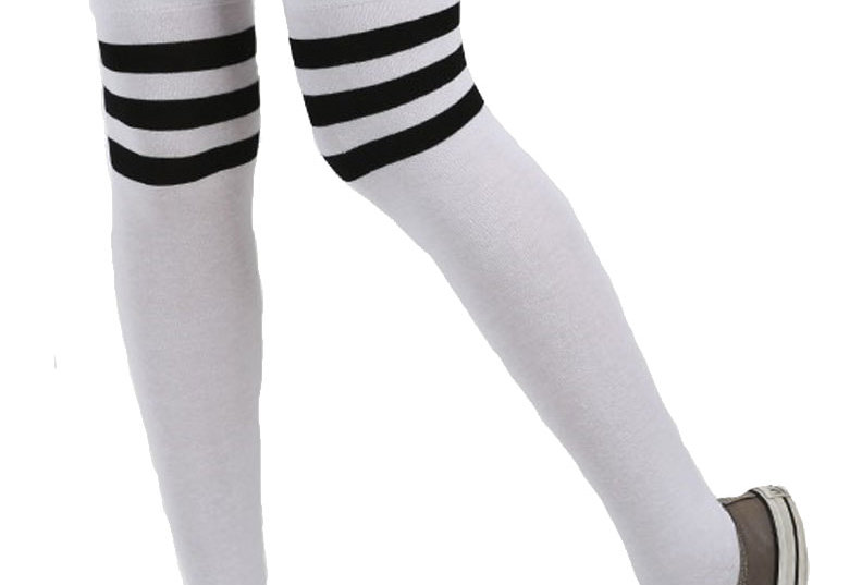 White and Black High Socks for Women
