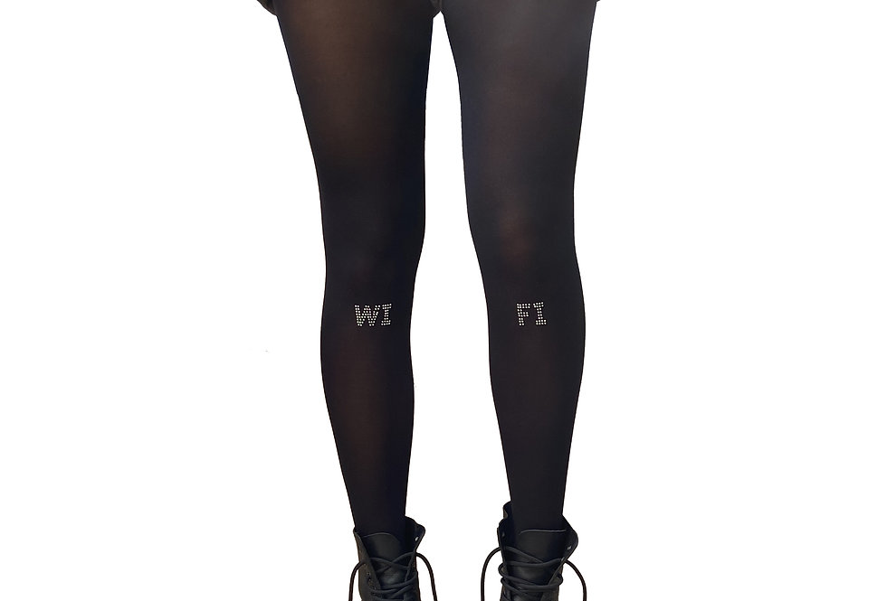 Black Studded Tights Silver WI FI for women