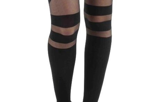 Black Strap sheer opaque tights for Women