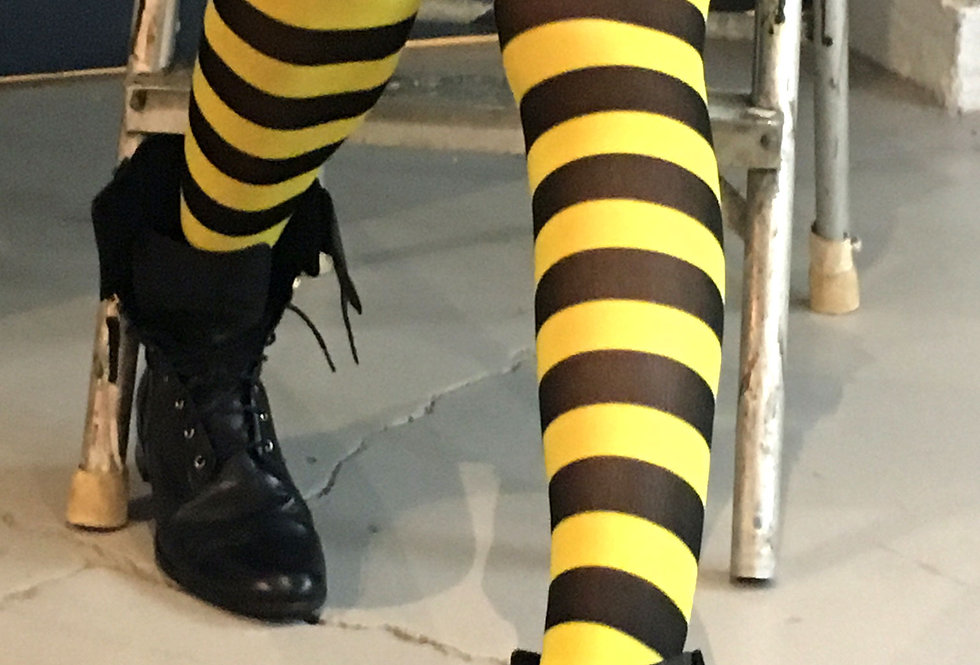 Yellow Striped Opaque Tights for Women