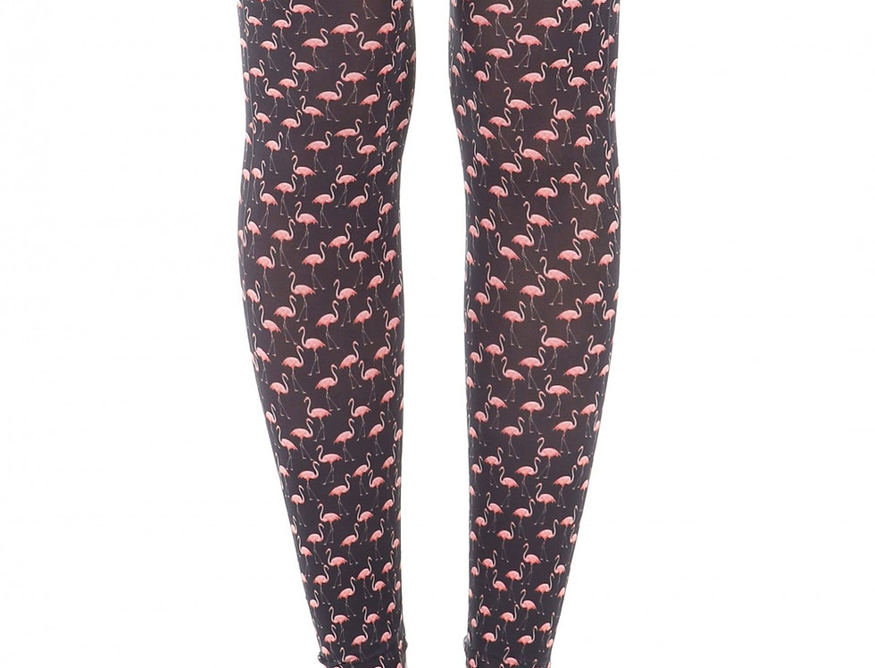Black and Pink Flamingo Patterned Footless Tights for Women