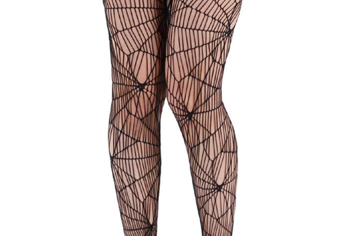 Black Spider Web Fishnet Tights for Women