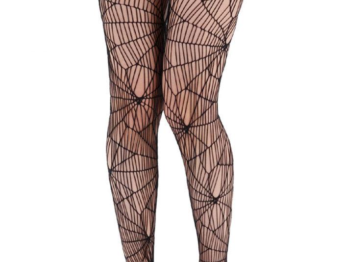 Black High Waist Fishnet Tights Spider Web for Women