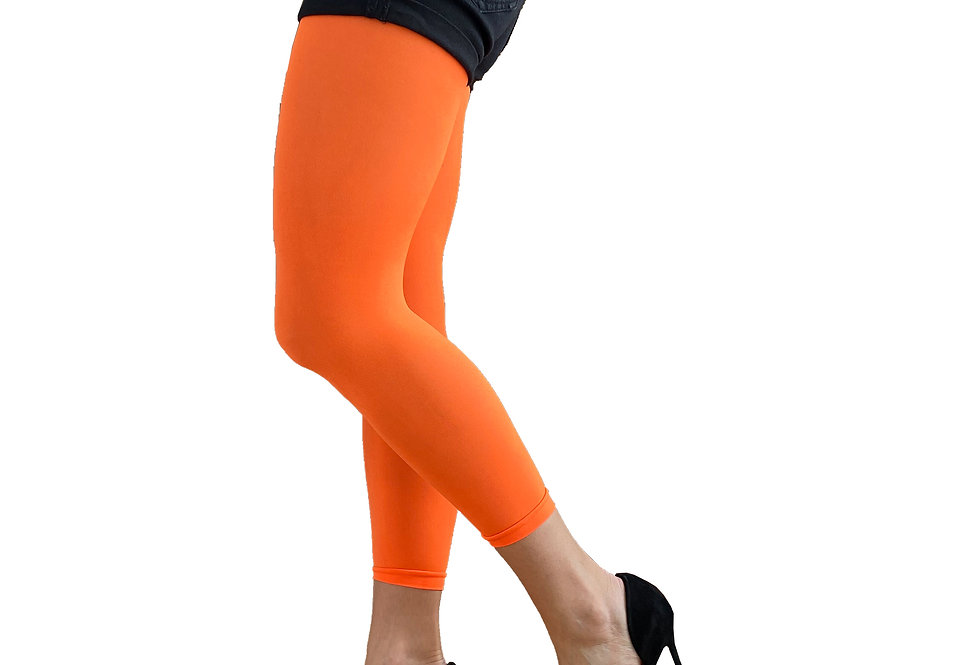 Neon Orange Footless Tights Malka Chic