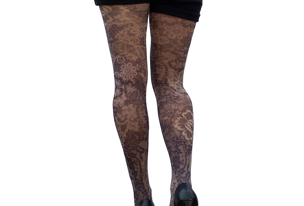 Lace Floral Printed Tights Beige for Women Malka Chic