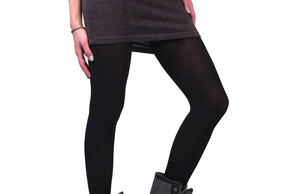 Black Ribbed Opaque Tights for women