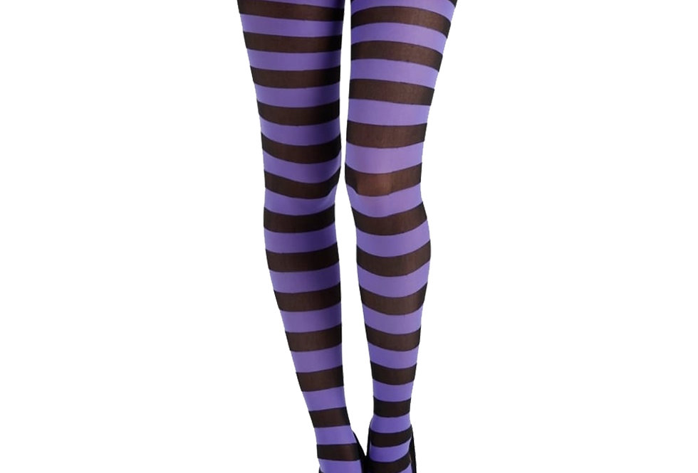 Purple Striped Opaque Tights for Women