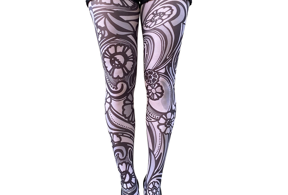 White Floral Tights Plus Size Varrick for women Malka Chic