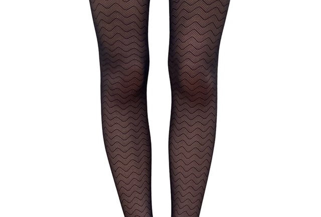 Black Waves Fishnet Tights for Women