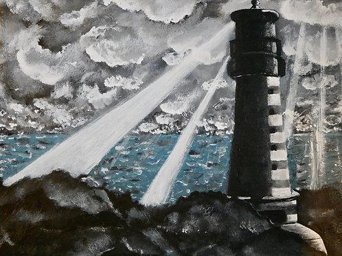 Original - Acrylbild 40 x 30 cm -Leuchtturm