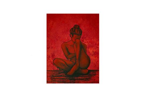 Original - Acrylbild 40x50 cm - Frau mit gebundenem Haar