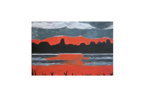 Original - Ölbild 60x40 cm -Plöner See beim Sonnenuntergang