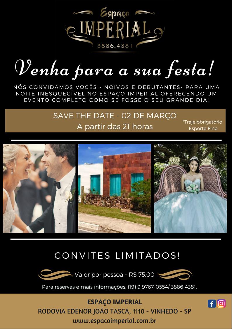 Espaço Imperial convida noivos e debutantes para evento fechado no dia 03 de março